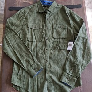 Sean John linen shirt fatigue army green new XL